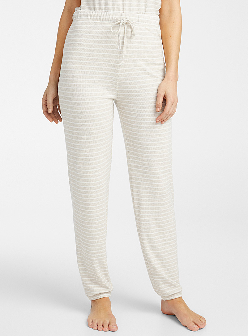 Miiyu Sand Thin stripe ribbed joggers for women