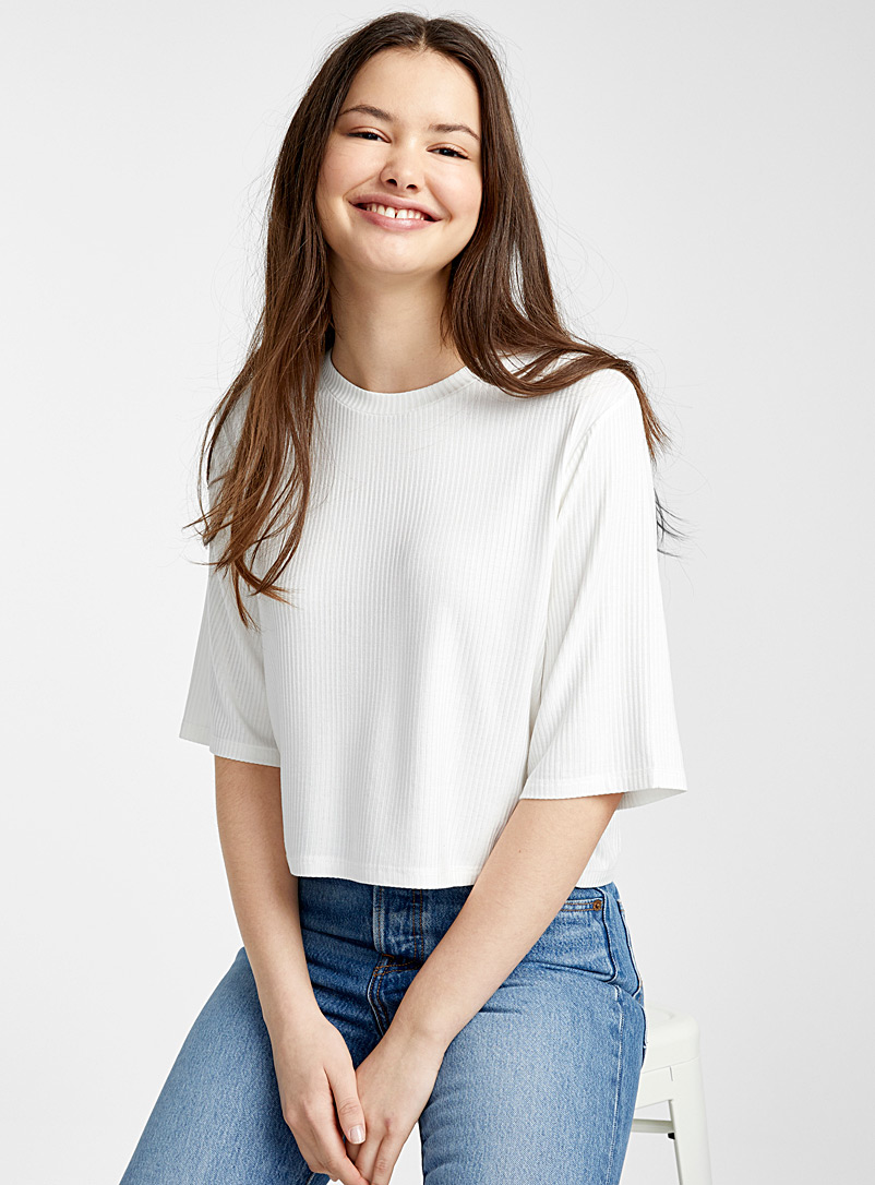 Twik White Finely ribbed loose tee for women