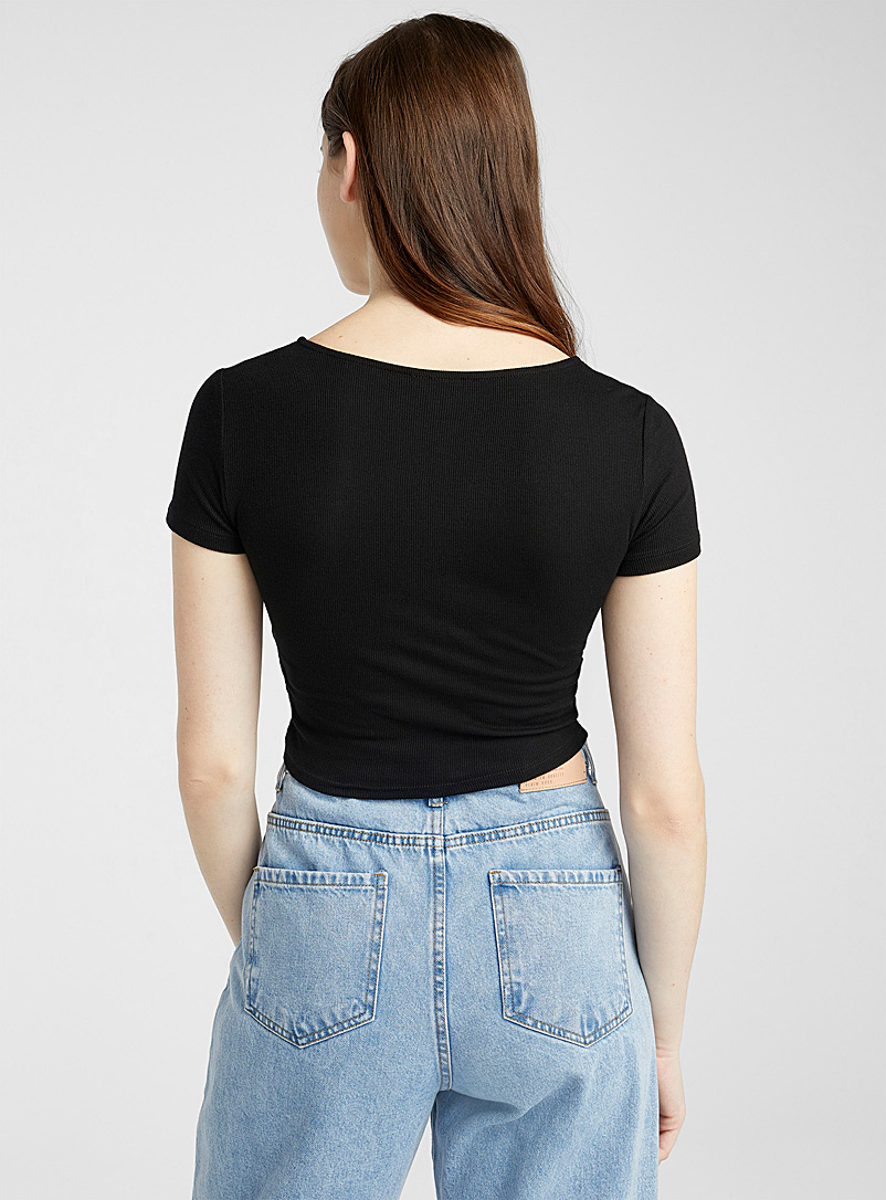 Twik Black Bow-detail cropped tee for women