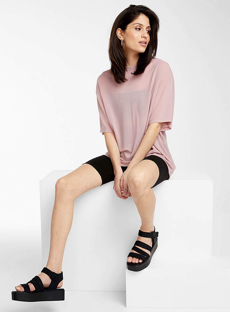 Icône Dusky Pink Translucent tulle tee for women