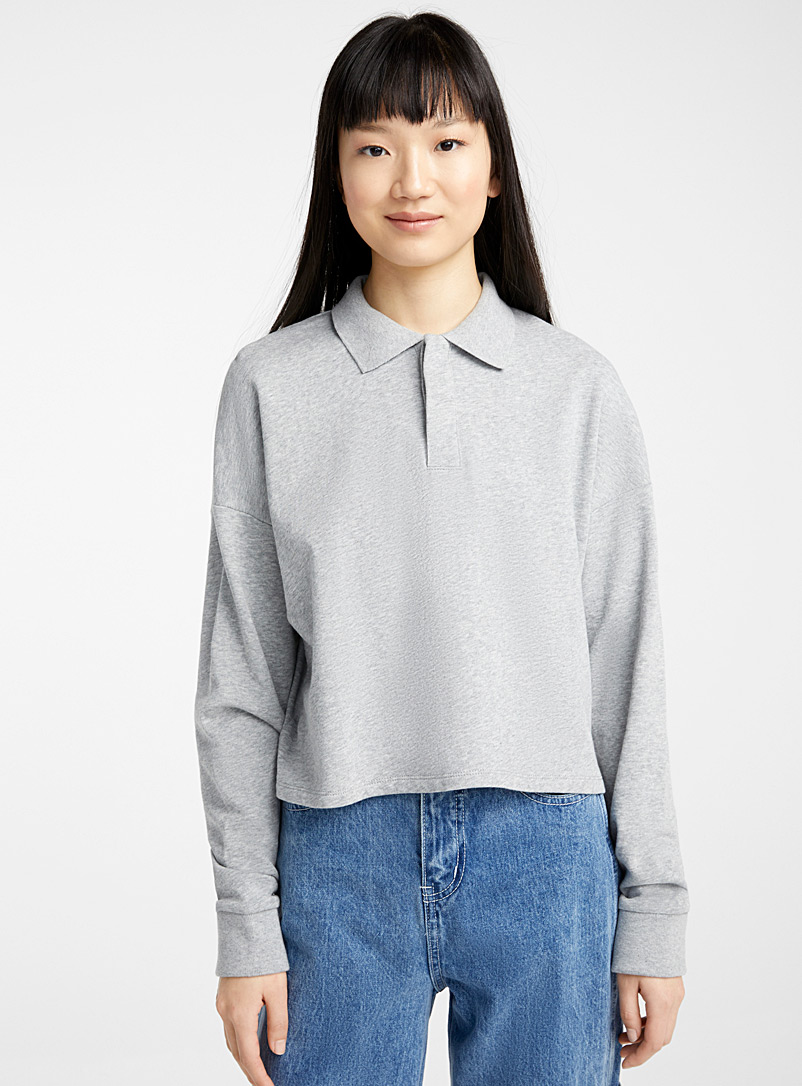 Twik Grey Organic cotton loose polo sweatshirt for women