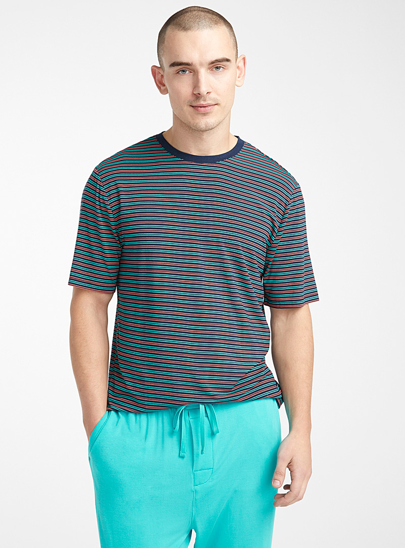 Le 31 Patterned Blue Finely striped lounge T-shirt for men