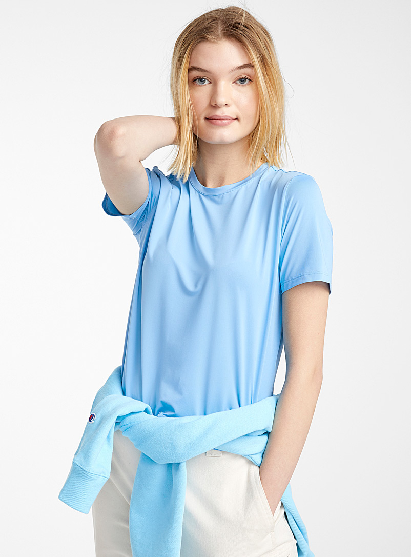Twik Baby Blue Round-neck microfibre tee for women