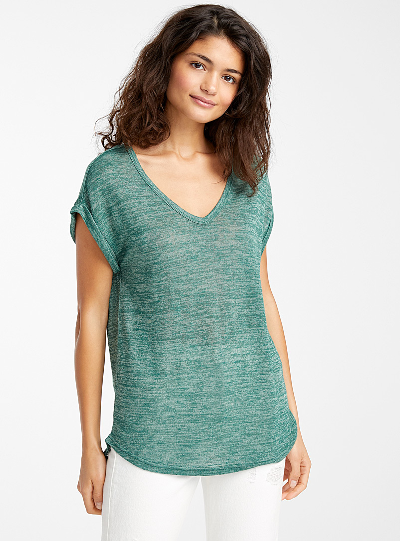 Twik Green Loose heather V-neck tee for women