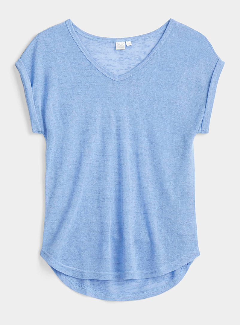 Twik Baby Blue Loose heather V-neck tee for women