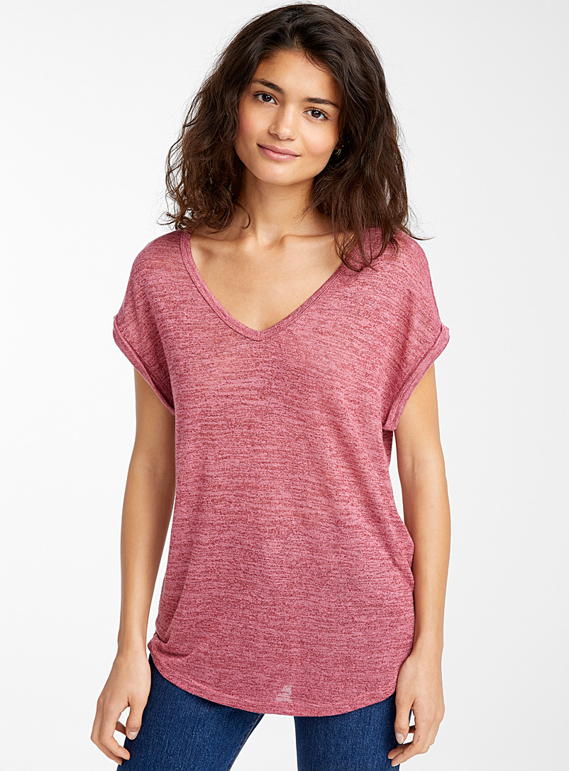 Twik Pink Loose heather V-neck tee for women