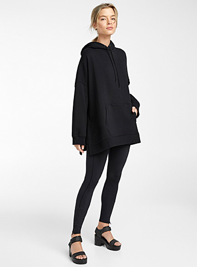 Icône Black Oversized organic cotton hoodie for women