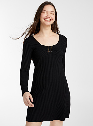 Twik Black Geo buckle ribbed dress for women