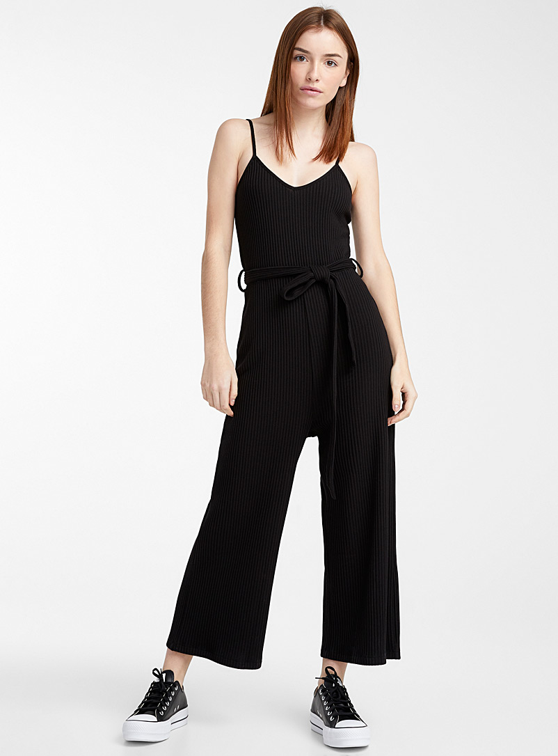 Twik Black Ribbed gaucho jumpsuit for women