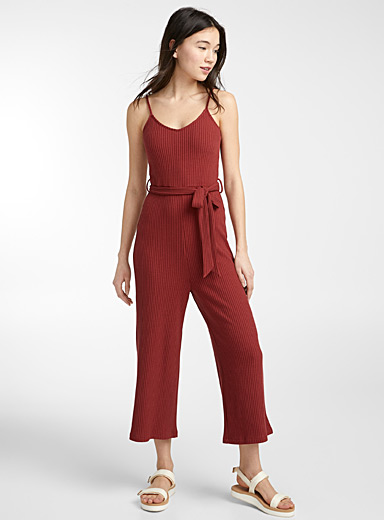 Twik Brown Ribbed gaucho jumpsuit for women