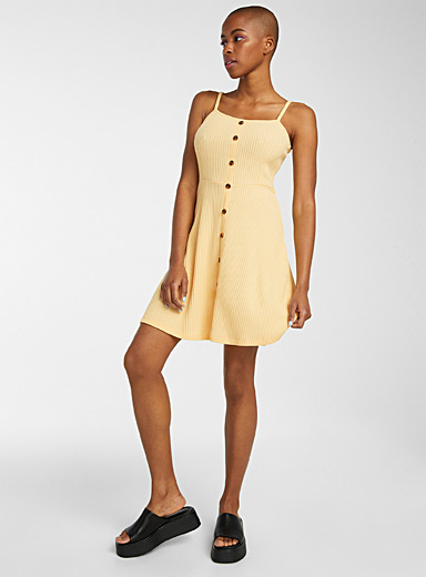Buttoned mini-ribbed dress