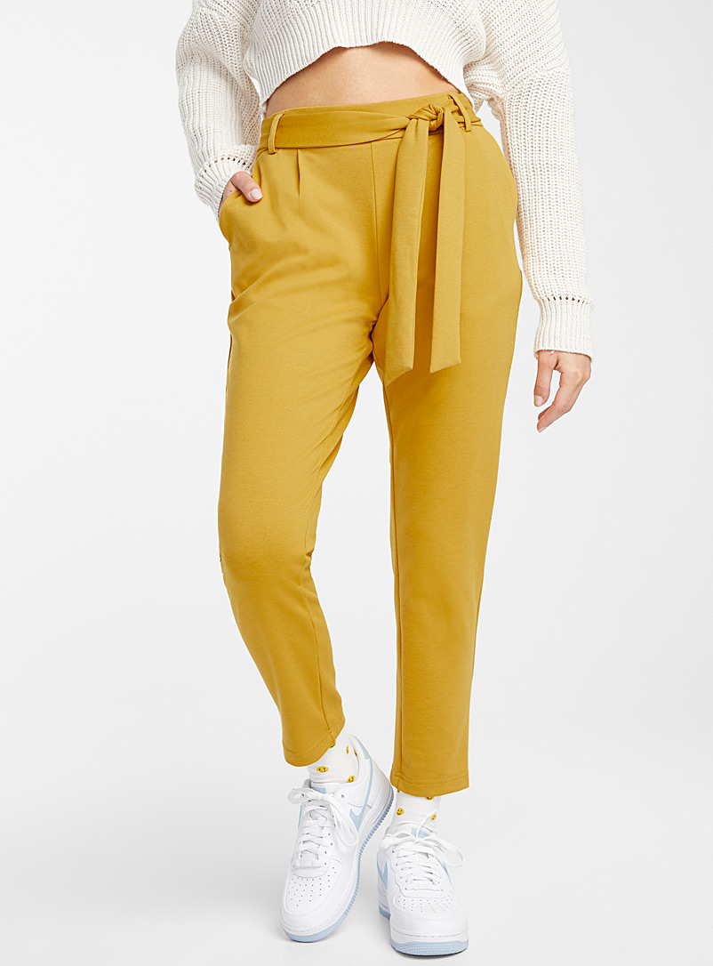 Twik Medium Yellow Buckled high-rise pant for women