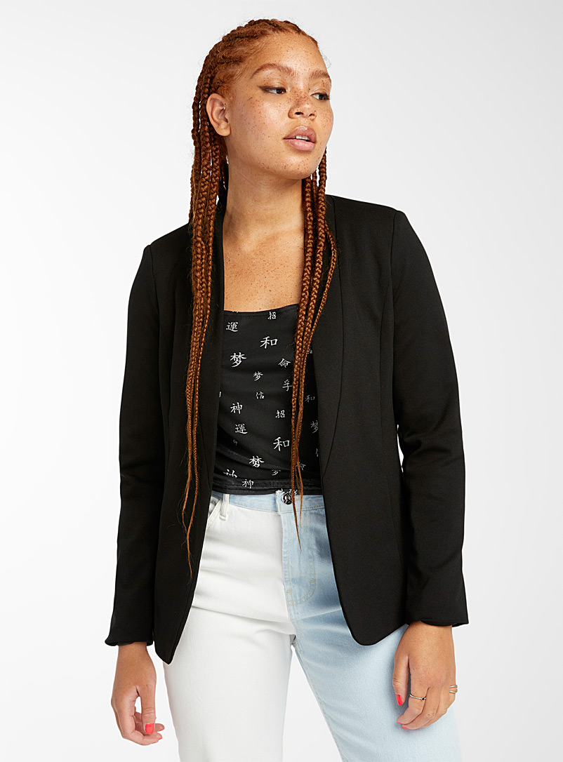Twik Black Collarless jersey blazer for women