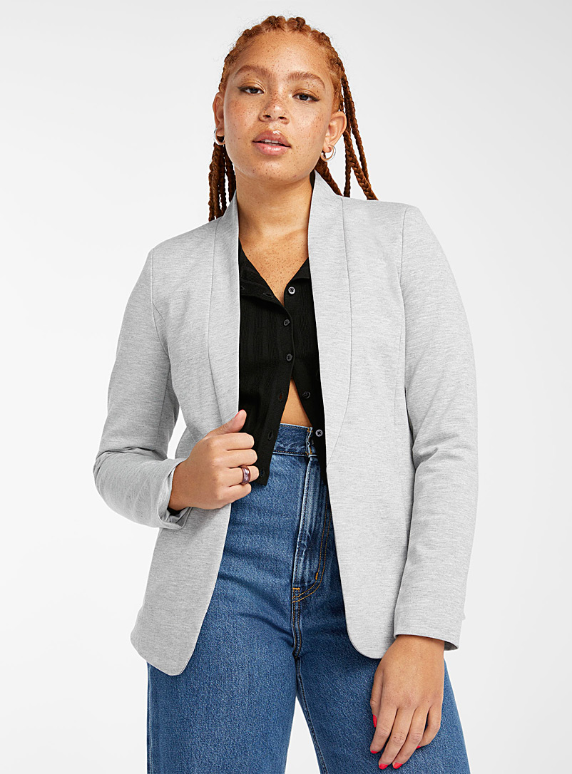 Twik Silver Collarless jersey blazer for women