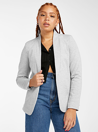 Collarless jersey blazer
