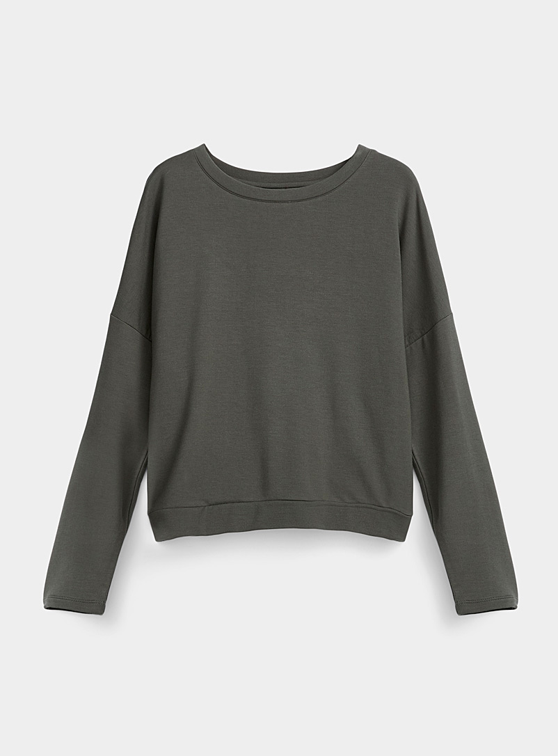 Miiyu Khaki TENCEL* Modal ultra soft sweater for women