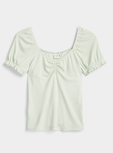 Twik Lime Green Ruffled puff-sleeve tee for women