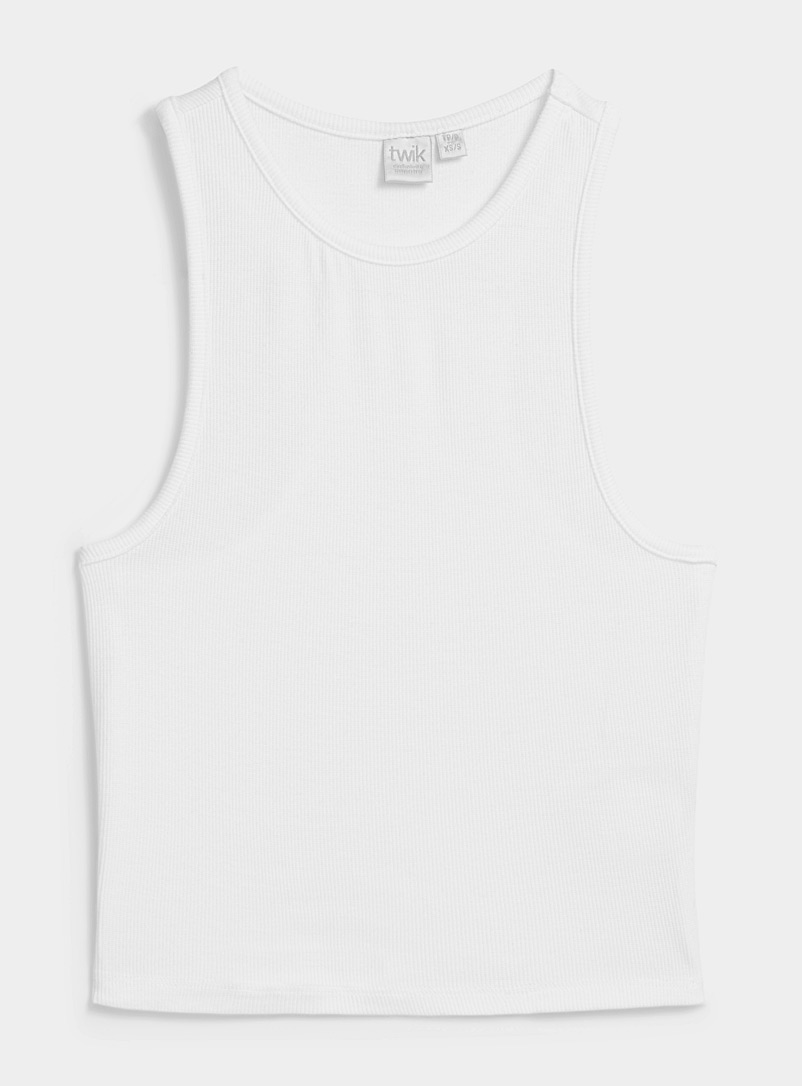 Twik White Ribbed racerback cami for women