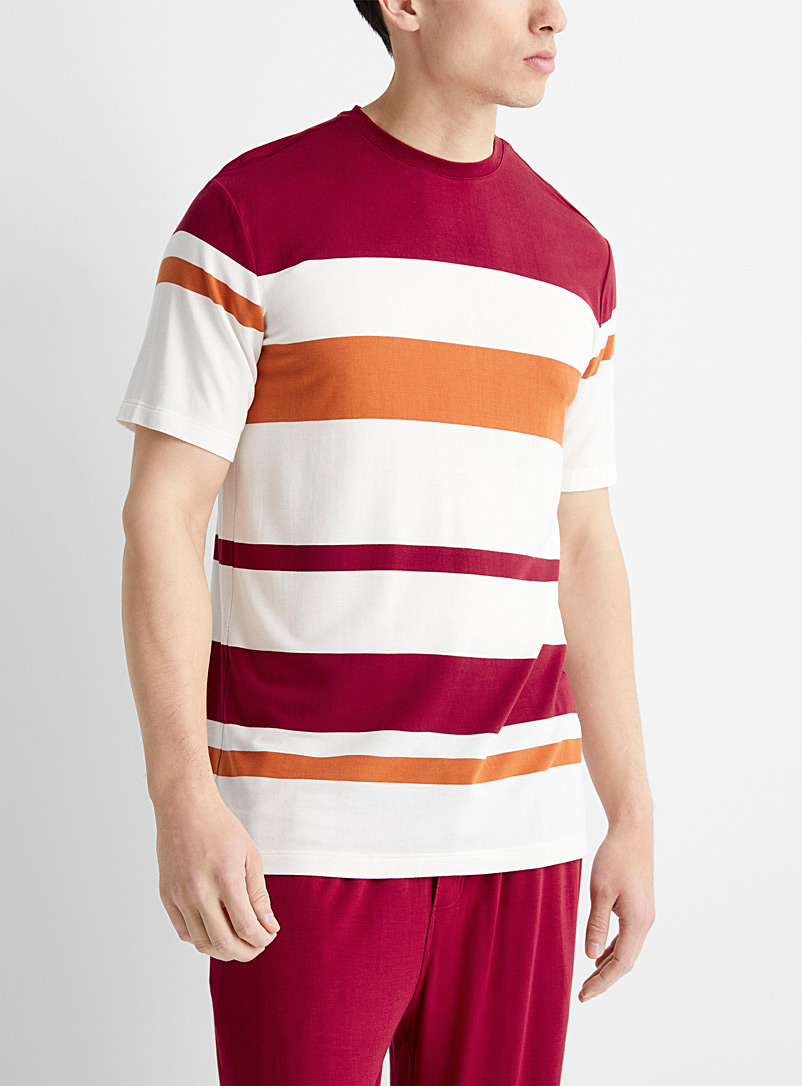 Le 31 Red Modal block stripe lounge tee for men