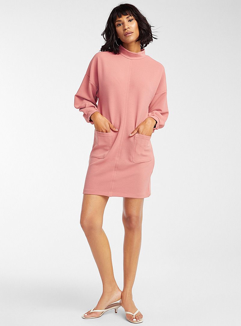 Icône Dusky Pink Ottoman texture cocoon dress for women