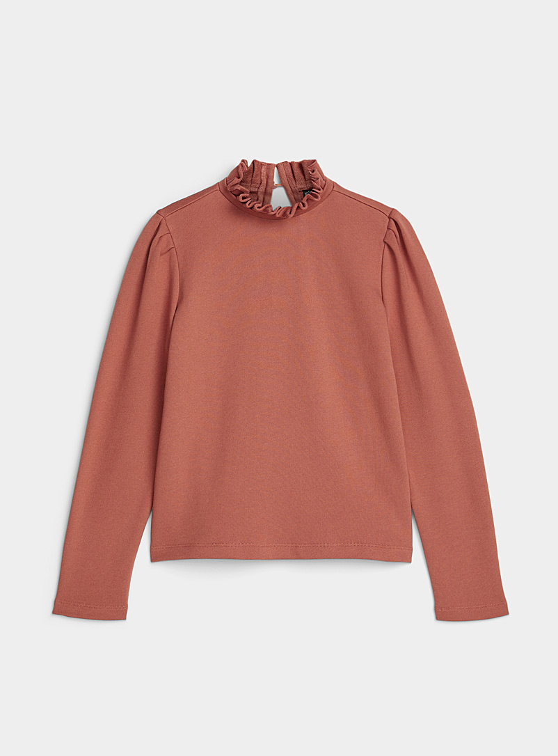 Ic?ne Medium Brown Organic cotton ruffle-collar sweatshirt for women