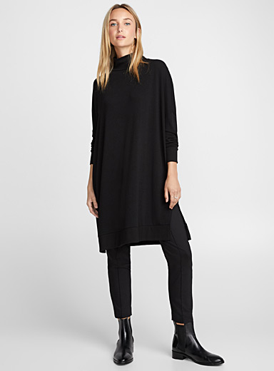 Jersey knit high-neck tunic