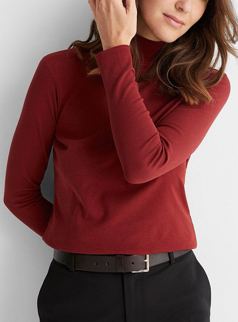Contemporaine Ruby Red Solid jersey mock neck for women