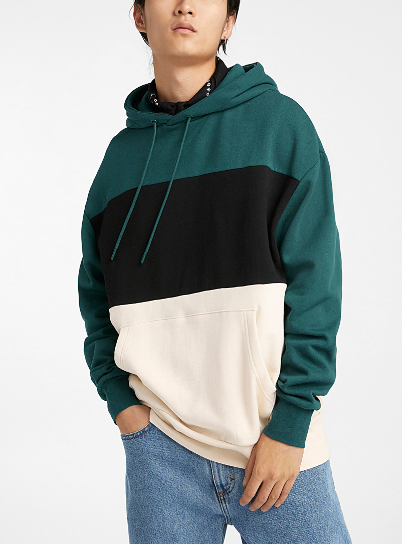 Djab Bottle Green Recycled fibre tricolour hoodie for men