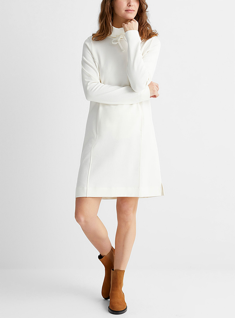 Contemporaine Cream Beige Cord collar sweatshirt dress for women
