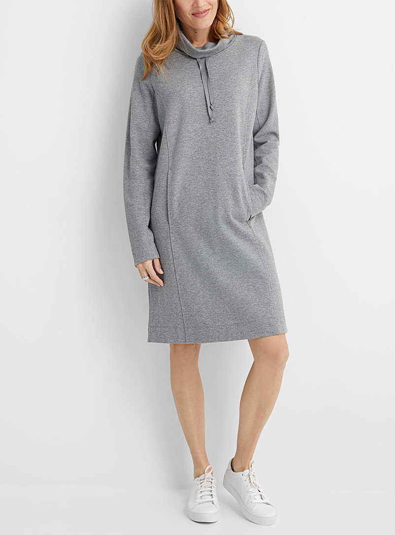 Cord collar sweatshirt dress