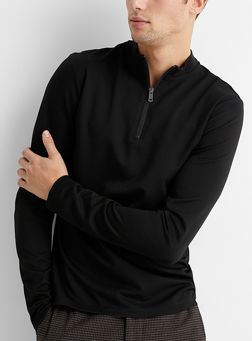 Le 31 Black Minimalist jersey half-zip for men