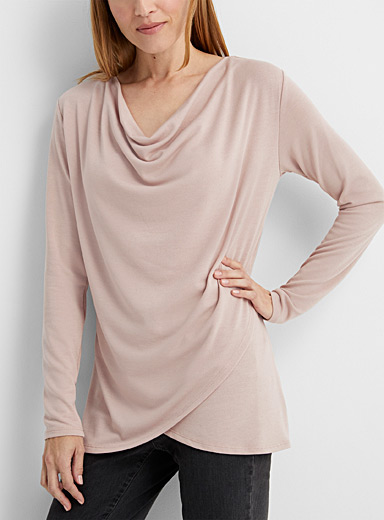 Contemporaine Dusky Pink Crossover draped-neck tunic for women