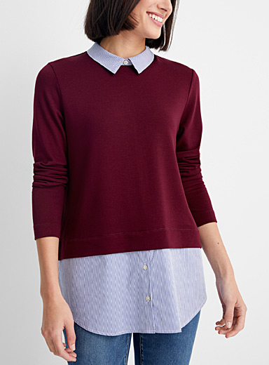 Contemporaine Patterned Red Long shirt T-shirt for women