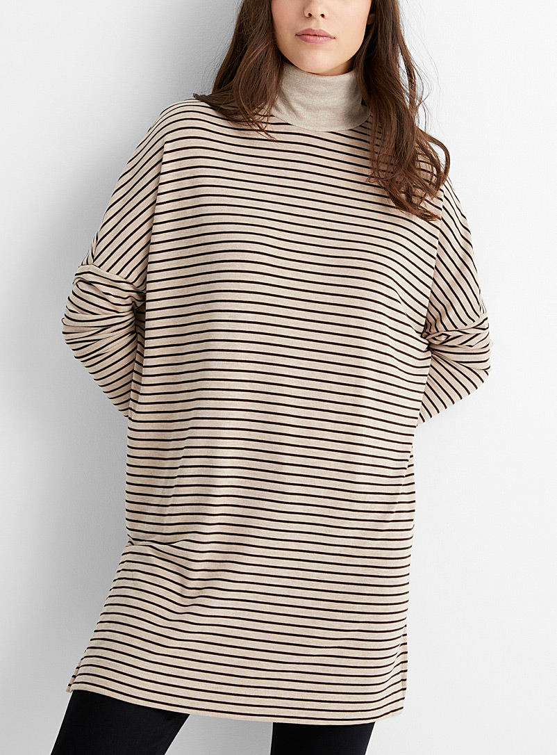 Contemporaine Patterned Brown Striped loose turtleneck tunic for women