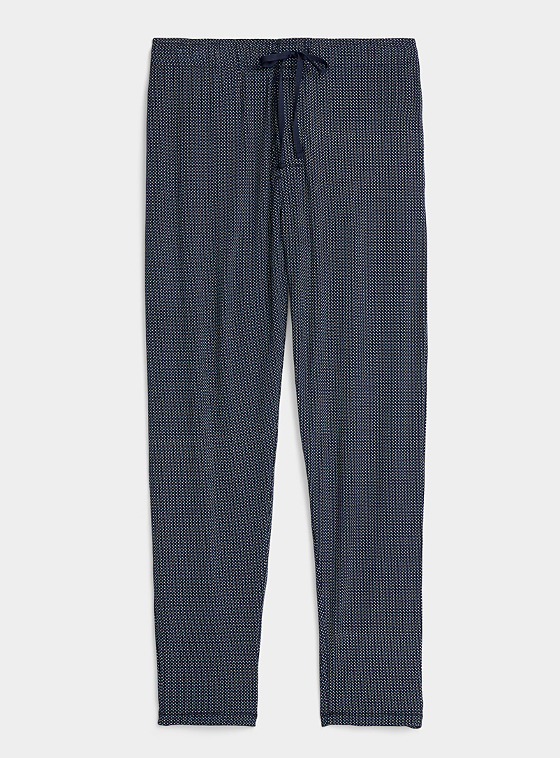 Le 31 Patterned Blue Dotted modal lounge pant for men