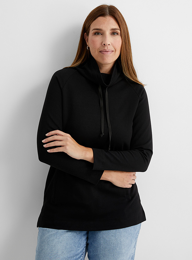 Contemporaine Black Drawcord collar hooded tunic for women