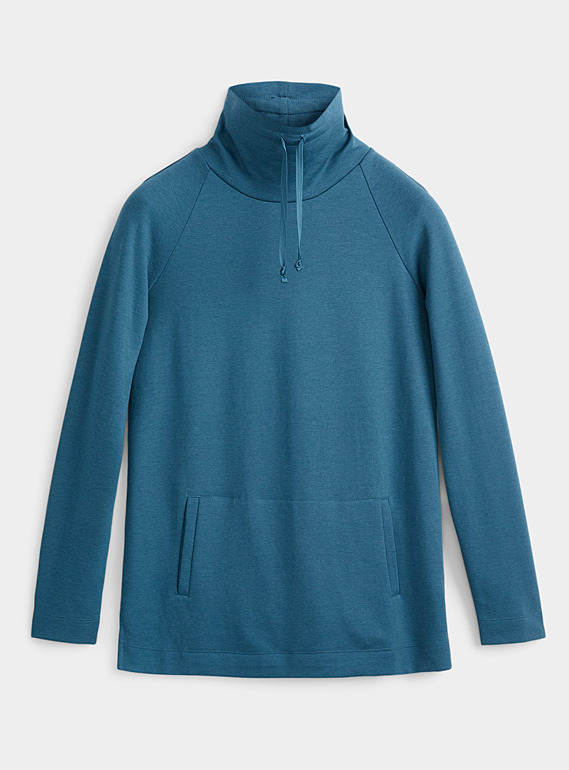 Contemporaine Blue Drawcord collar hooded tunic for women