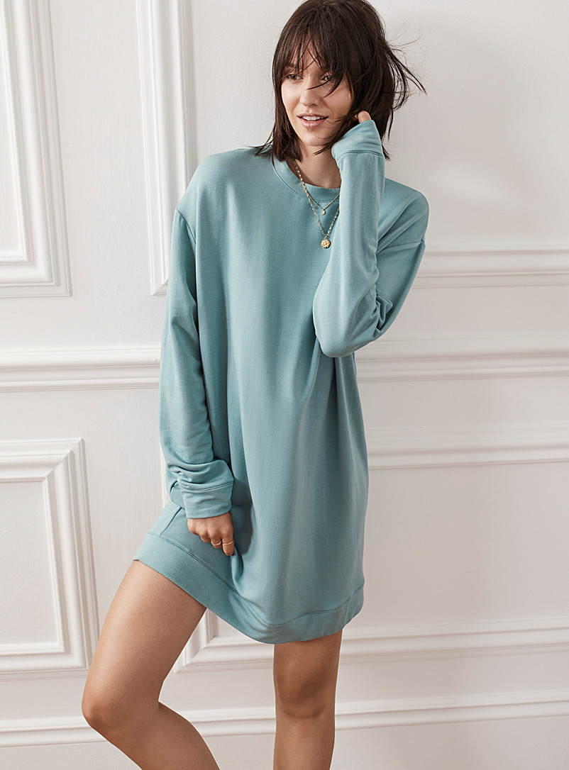 Miiyu Teal Ultra soft sweatshirt dress for women