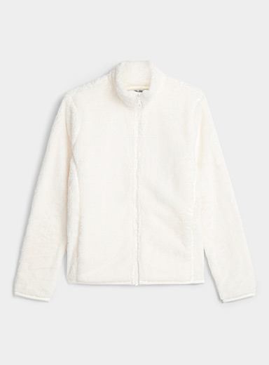 Miiyu x Twik Ivory White Plush zip jacket for women