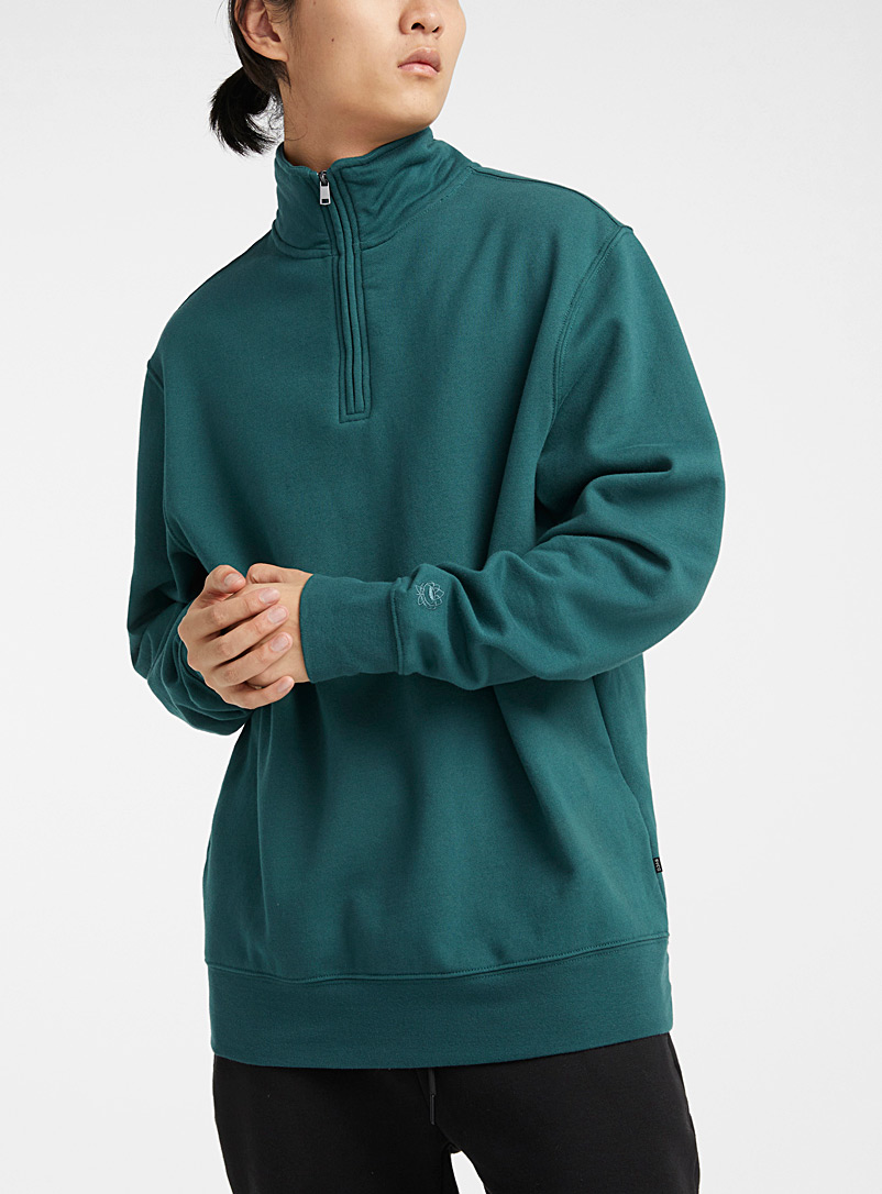 Djab Green Recycled fibre half-zip sweatshirt for men