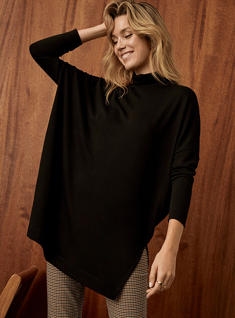 Contemporaine Black Oversized turtleneck tunic for women