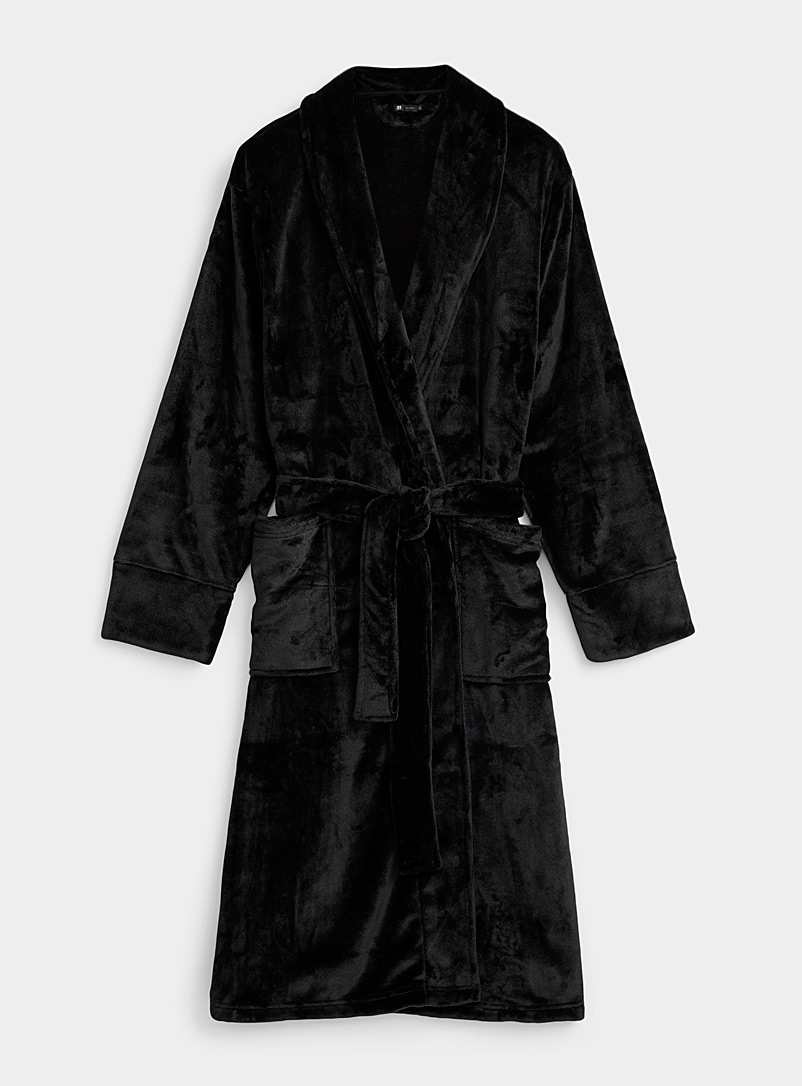 Le 31 Black Velvety plush robe for men