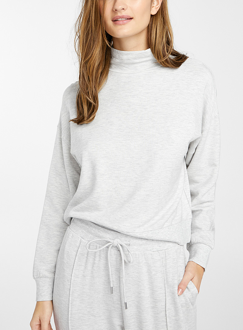 Miiyu Grey Mock-neck modal sweatshirt for women