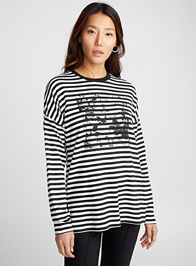 Soft modal loose print sweatshirt