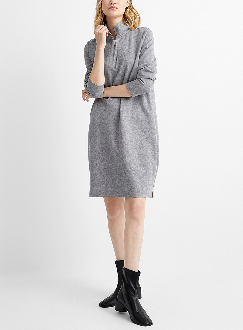 Contemporaine Grey Zipped mock-neck dress for women