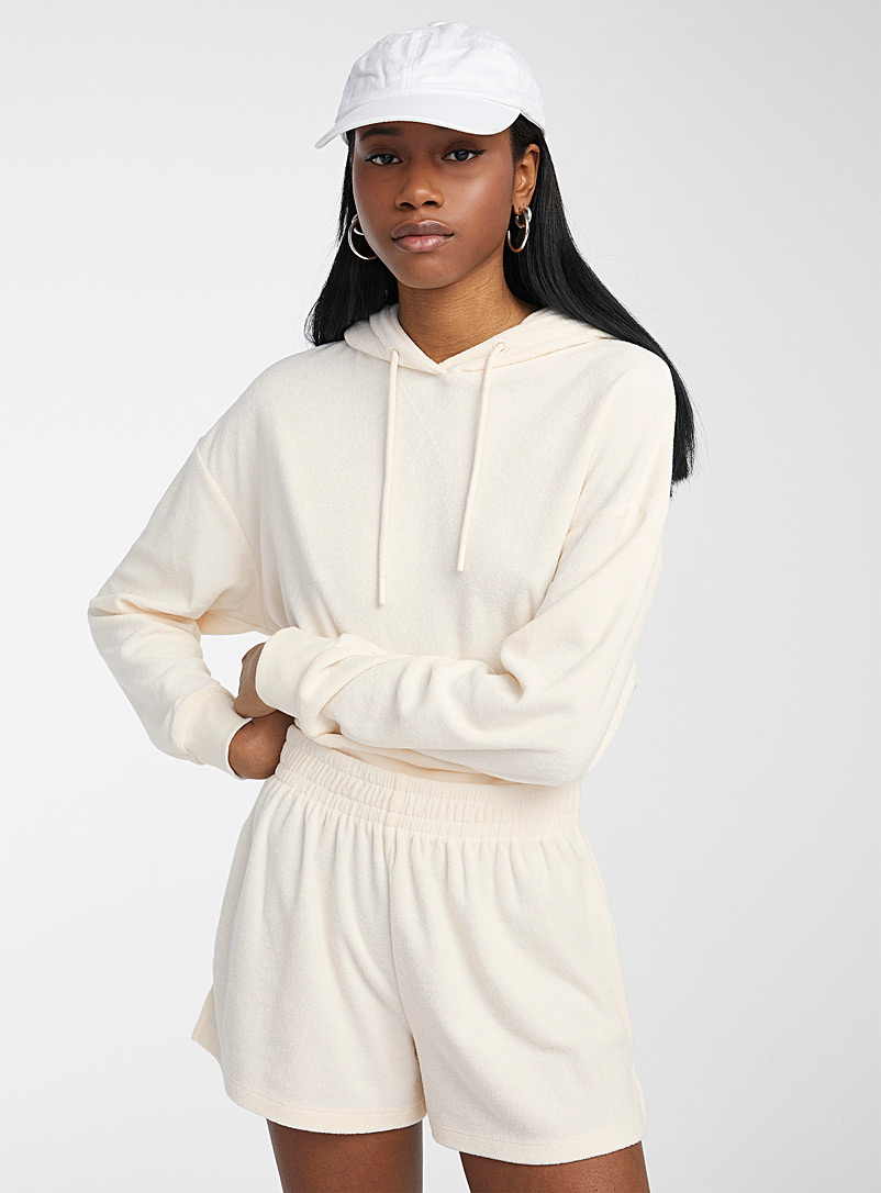 Twik Ivory White Loose terry short for women