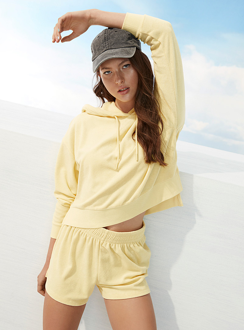 Twik Light Yellow Loose terry short for women