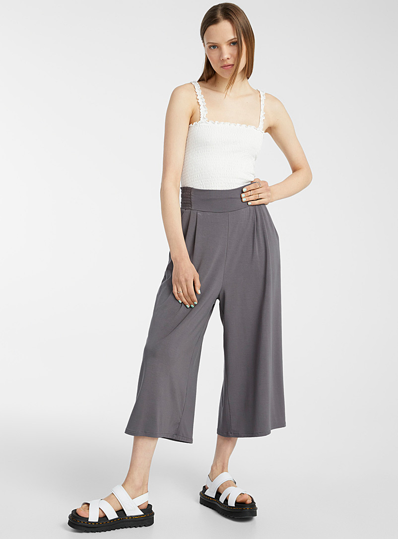 Twik Charcoal Ultra loose modal gaucho pant for women