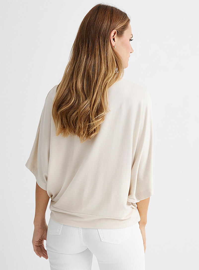 Contemporaine Cream Beige French terry poncho T-shirt for women