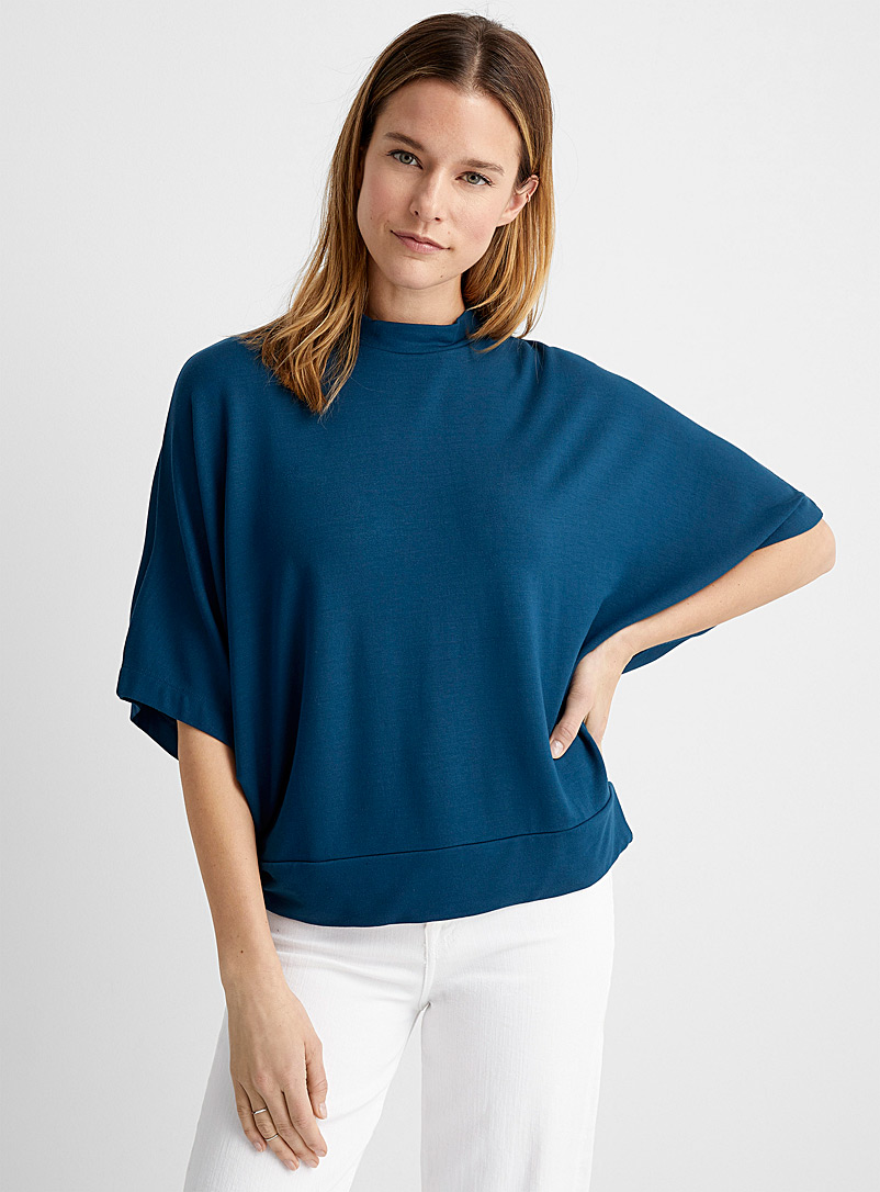 Contemporaine Sapphire Blue French terry poncho T-shirt for women